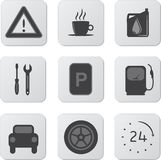 Automobile Icons. 9 Style Gray Automobile Icons with Signs Stock Photos
