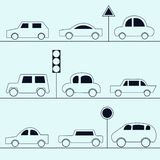 Automobile icons. Collection of cars in the outline style royalty free illustration