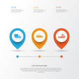 Automobile Icons Set. Collection Of Lorry, Car, Van And Other Elements. Also Includes Symbols Such As Car, Van. Automobile Icons Set. Collection Of Lorry, Car Stock Photography