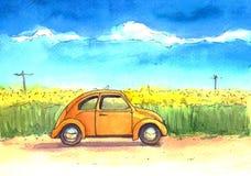 Automobile, illustration, aquarelle, ciel, champ illustration libre de droits
