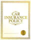 Automobile insurance policy. Gold illustration design Royalty Free Stock Images