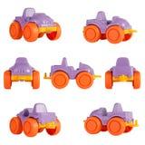 Automobile isolata del giocattolo dei bambini Angoli differenti Immagini Stock