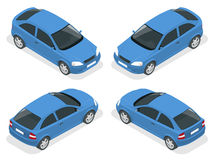 Automobile isometrica Automobile della berlina Insieme piano dell'icona di trasporto della città di alta qualità di vettore 3d Fotografia Stock