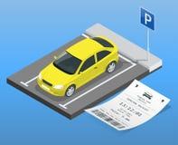 Automobile isometrica dell'illustrazione di vettore nel parcheggio e nei biglietti di parcheggio Icona piana dell'illustrazione p Fotografia Stock