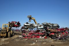 Automobile junk-yard royalty free stock image