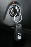 Automobile key in the ignition lock Royalty Free Stock Images