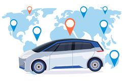 Automobile with location pin online ordering taxi car sharing concept mobile transportation carsharing service world map. Background flat horizontal vector vector illustration
