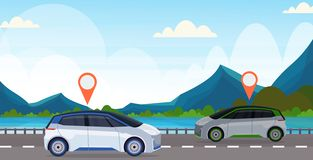 Automobile with location pin on road online ordering taxi car sharing concept mobile transportation carsharing service. Mountains river landscape background royalty free illustration