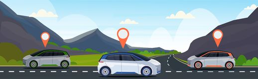 Automobile with location pin on road online ordering taxi car sharing concept mobile transportation carsharing service. Mountains landscape background flat royalty free illustration