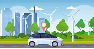 Automobile with location pin on road online ordering taxi car sharing concept mobile transportation carsharing service. Wind turbines cityscape background flat stock illustration