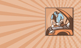 Automobile Mechanic Car Repair. Business card template showing illustration of an automobile auto mechanic repair car with wrench spanner done in retro woodcut Royalty Free Stock Photo