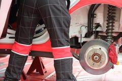 Automobile mechanic do diagnostics of car Royalty Free Stock Image