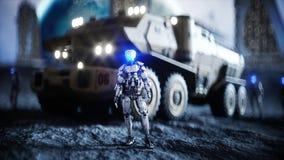 Automobile militare sulla luna con i robot Colonia della luna Backround della terra rappresentazione 3d royalty illustrazione gratis