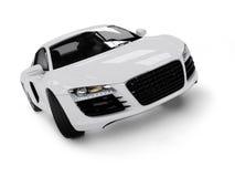 Automobile moderna bianca isolata su priorità bassa nera. Fotografia Stock