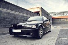 Automobile moderna nera, coupé di BMW E46 Fotografie Stock