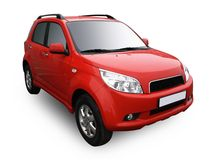 Automobile moderna rossa isolata su bianco Fotografia Stock