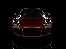 Automobile moderna rossa isolata su priorità bassa nera. Fotografia Stock Libera da Diritti