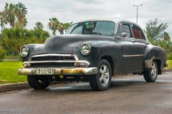Automobile nera americana Fotografia Stock