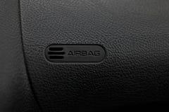 Automobile nera dell'airbag del pannello, cuoio nero d'imitazione fotografie stock libere da diritti