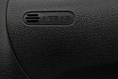 Automobile nera dell'airbag del pannello, cuoio nero d'imitazione immagini stock