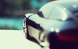 Automobile nera nel retro concetto Fotografie Stock Libere da Diritti