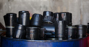 Automobile oil filters background Royalty Free Stock Photo