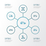 Automobile Outline Icons Set. Collection Of Hatchback, Carcass, Crossover And Other Elements. Also Includes Symbols Such. Automobile Outline Icons Set Royalty Free Stock Photo