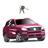 Automobile per affitto con la chiave dell'automobile Illustrazione isolata Immagine Stock