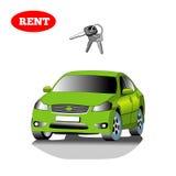 Automobile per affitto con la chiave dell'automobile isolata su fondo bianco Fotografie Stock