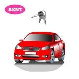 Automobile per affitto con la chiave dell'automobile isolata su fondo bianco Fotografie Stock Libere da Diritti