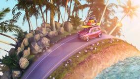 Automobile per il viaggio con uno scaffale di tetto su una strada della montagna illustrazione 3D Fotografie Stock