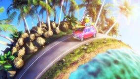Automobile per il viaggio con uno scaffale di tetto su una strada della montagna illustrazione 3D Fotografia Stock