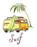 Automobile praticante il surfing dell'acquerello Fotografia Stock Libera da Diritti