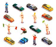 Automobile Racing Icon Set. Street racing drift isometric icons set of isolated high-powered and police cars with human characters vector illustration Royalty Free Stock Photography