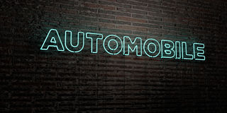 AUTOMOBILE -Realistic Neon Sign on Brick Wall background - 3D rendered royalty free stock image Stock Photography