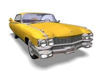 Automobile retro. 3D yellow retro automobile white background Royalty Free Stock Photo