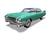 Automobile retro. 3D green vintage automobile white background Royalty Free Stock Photo