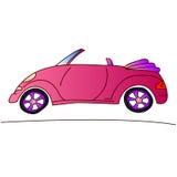 Automobile rosa per la ragazza, illustrazione di estate del cabriolet illustrazione di stock