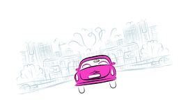 Automobile rosa sulla strada di città per la vostra progettazione Immagini Stock Libere da Diritti