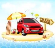 Automobile rossa alla spiaggia con il surf ed il beach ball Immagine Stock Libera da Diritti