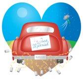 Automobile rossa con appena il segno sposato Fotografia Stock