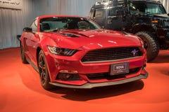 Automobile rossa del mustang di Roush visualizzata a Tel Aviv l'israele fotografie stock