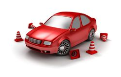 Automobile rossa dell'esame Immagini Stock