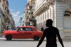Automobile rossa di Avana Fotografia Stock Libera da Diritti