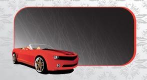 Automobile rossa e bandiera scura Fotografia Stock Libera da Diritti