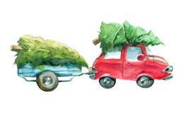 Automobile rossa e rimorchio blu con l'albero di Natale verde sulla cima Immagine Stock Libera da Diritti