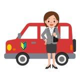 Automobile rossa e una donna Fotografia Stock Libera da Diritti