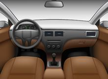Free Automobile Salon. Car Interior Template With Leather Seats And Wheel Colored Dashboard Mirror Vector Realistic Picture Stock Images - 166171644