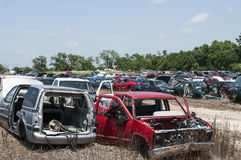 Automobile salvage yard. Junk automobiles at a auto salvage and junk yard Stock Images