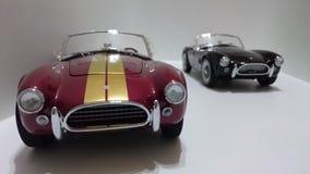Automobile scoperta a due posti di cabrio di Shelby Cobra, bande dorate Borgogna contro le automobili nere della pittura Immagini Stock